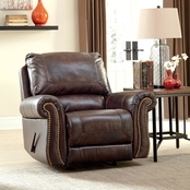 Signature Design by Ashley Bristan Rocker Recliner, Walnut, Traditional Classics