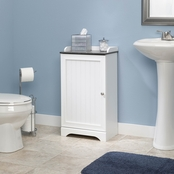 Sauder Caraway Floor Cabinet, Soft White with Slate Finish Accent