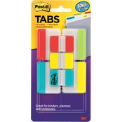 Post-it Tabs Value Pack, 1 in. and 2 in., Aqua/Lime/Red/Yellow, 114/Pk.
