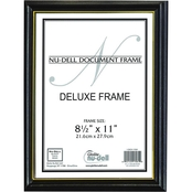 NuDell Deluxe Wood Document Frame, Plastic Face, 8-1/2 in. x 11 in., Black