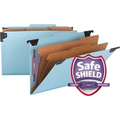Smead Six Section Hanging Classification Folder, Pressboard/Kraft, Legal, Blue