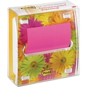 Post-it Pop-up Note Dispenser with Designer Daisy Insert and Note Pad, Ultra Yellow