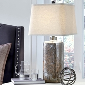 Signature Design by Ashley Shanilly Glass Table Lamp, Multi, Contemporary
