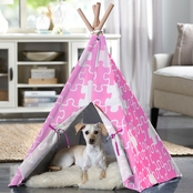 Merry Products Pink Puzzle Print Pet Teepee, Medium