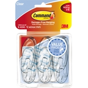 Command Clear Hooks & Strips, Medium Plastic 6 Hooks & 12 Strips Pack