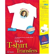 Avery Light Fabric Transfers for Inkjet Printers, 8 1/2 in. x 11 in. White 12 pk.