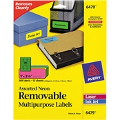 Avery High Visibility Laser Labels, 1 in. x 2 5/8 in., Assorted Neon 360 pk.