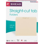 Smead File Folders, Straight Cut, One-Ply Top Tab, Letter, Manila, 100 ct.