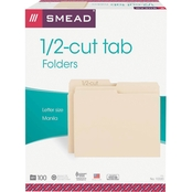 Smead File Folders, 1/2 Cut, One-Ply Top Tab, Letter, Manila, 100 ct.