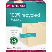 Smead 100% Recycled File Folders, 1/3 Cut, One-Ply Top Tab, Letter, Manila, 100 ct.