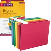 Smead Hanging File Folders, 1/5 Tab, Letter, Assorted Colors, 25 ct.