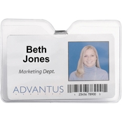 Advantus ID Badge Holder with Clip, Horizontal, 4 x 3, Clear, 50 pk.
