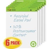 Post-it Self-Stick Easel Pads, 25 in. x 30 in. White Recycled 30 Sheet Pads 6 pk.