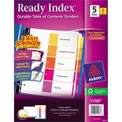 Avery Ready Index Customizable Table of Contents, 5 Tab Letter Size 6 Set Pack
