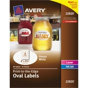 Avery Oval Print-to-the-Edge Labels, 2 in. x 3 1/3 in. White 80 pk.