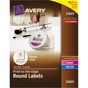 Avery Round Print-to-the-Edge Labels, 2 in. Diameter Glossy Clear 120 pk.