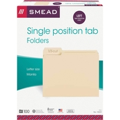 Smead File Folders, 1/3 Cut First Position, Letter Size, 100 pk.