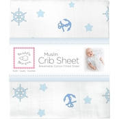 SwaddleDesigns Infant Boys Muslin Crib Sheet, Ahoy!