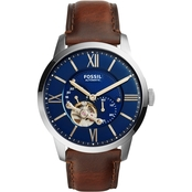 Fossil Men's Townsman Automatic Brown Leather Watch ME3110