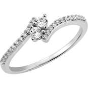2 in Love 14K White Gold 1/4 CTW Diamond Two Stone Ring