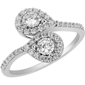 2 in Love 14K White Gold 1/2 CTW Diamond Two Stone Ring