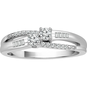 2 in Love 14K White Gold 1/4 CTW Diamond 2 Stone Ring, Size 7