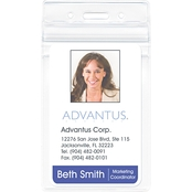 Advantus Vertical Resealable ID Badge Holder, 50 Pk.