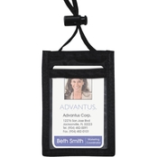 Advantus Vertical ID Badge Holder with Convention Neck Pouch, 12 Pk.