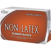 Alliance Non-Latex Rubber Bands, Orange, 1 lb. Box