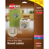 Avery Print To The Edge Round Kraft 2 1/2 in. Label 225 Pk.