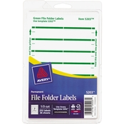 Avery Print or Write 11/16 in. x 3 7/16 in. White/Green File Folder Labels 252 Pk.