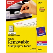 Avery White 1/2 in. x 1 3/4 in. Removable Multi-Use Labels 2000 Pk.