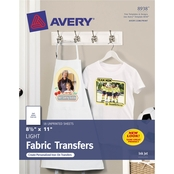Avery Fabric Transfers, 8 1/2 in. x 11 in., 18 Pk.