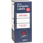 Avery Dot Matrix Mailing Labels, 1 7/16 in. x 4 in., 5000 Pk.