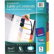 Avery Ready Index Customizable Table of Contents Letter Size Divider 5 Tab Set