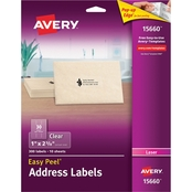 Avery Clear Easy Peel Mailing Labels for Laser Printers, 1 x 2 5/8 In., 300 Pk.