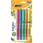 BIC Brite Liner Grip Fluorescent Highlighter 5 Pc. Set