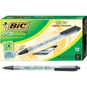 BIC Ecolutions Clic Stic Retractable Ballpoint Pen, 1mm, 12 Pk.