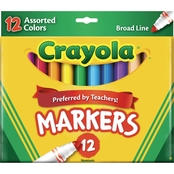 Crayola Non-Washable Markers, Broad Point, 12 Pk.