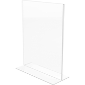 deflecto Stand-Up Double-Sided Sign Holder, 8 1/2 x 11 in., Loads from the bottom