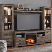 Ashley Trinell Entertainment Wall with Fireplace Insert