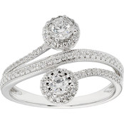 2 in Love 14K White Gold 1/2 CTW Two Diamond Illusion Plate Halo Ring