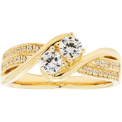 2 in Love 14K Yellow Gold 1/2 CTW Two Diamond Bypass Bridal Ring