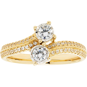 2 in Love 14K Yellow Gold 1/2 CTW Two Diamond Illusion Plate Ring