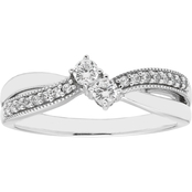 2 in Love 14K White Gold 1/4 CTW Two Diamond Ring
