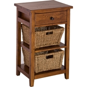 Hillsdale Tuscan Retreat Open Sided Stand with 2 Baskets and 1 Drawer