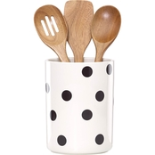 Kate Spade by Lenox Deco Dot Crock with Wooden Utensils