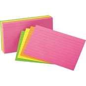 Universal 5 x 8 in. Ruled Neon Glow Index Cards 100 Pk.