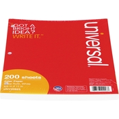 Universal Wide Rule 8 1/2 x 11 White Filler Paper 200 Sheet Pack