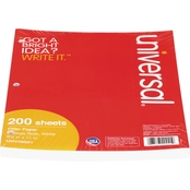Universal College Rule 8 1/2 x 11 White Filler Paper 200 Sheet Pack